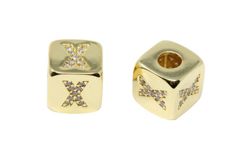 "Gold 9mm Micro Pave Cube ""X"" Bead"