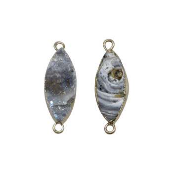 Natural Druzy Agate Horse Eye 11x25mm Gold Edge Link Connector
