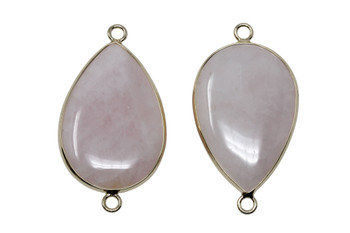 Rose Quartz 20x30mm Gold Framed Drop Connector