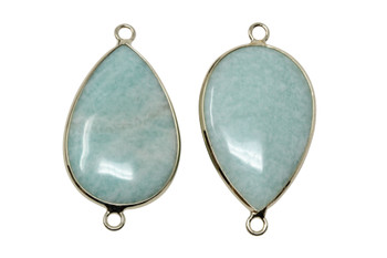Brazilian Amazonite 20x30mm Gold Framed Drop Connector