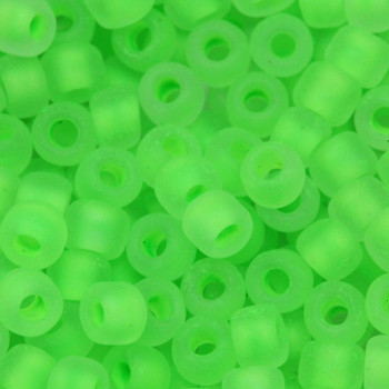 Size 6 Matsuno Seed Beads -- F206B Neon Crystal Matte / Lime Lined