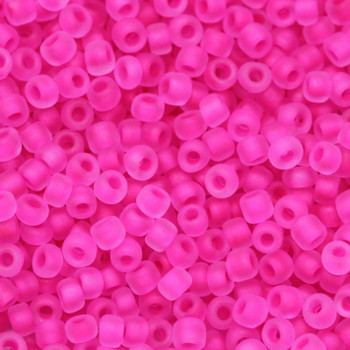 Size 11 Matsuno Seed Beads -- F209D Neon Crystal Matte / Watermelon Lined