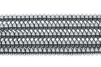 Platinum Plated Hematite Polished 3x6mm Saucer