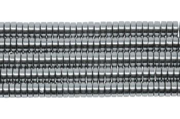 Platinum Plated Hematite Polished 2x6mm Heishi