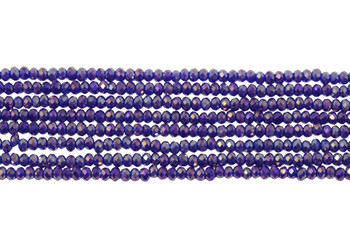 Chinese Crystal Polished 2mm Faceted Rondel - Blue/Purple Iris