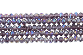 Glass Crystal Polished 4x6mm Faceted Rondel - Transparent Purple AB