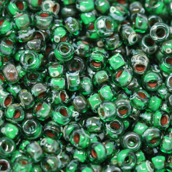 Size 8 Miyuki Seed Beads -- 4507 Picasso Transparent Green