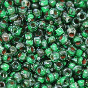 Size 8 Miyuki Seed Beads -- 4507 Picasso Transparent Green