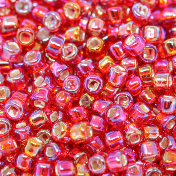 Size 8 Matsuno Seed Beads -- 638 Ruby AB / Silver Lined