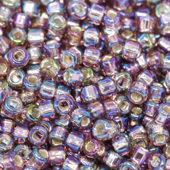 Size 8 Matsuno Seed Beads -- 640 Light Amethyst AB / Silver Lined