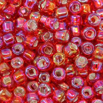 Size 6 Matsuno Seed Beads -- 638 Ruby AB / Silver Lined