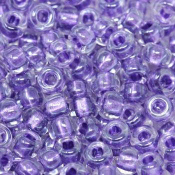 Size 6 Miyuki Seed Beads --710 Crystal / Sparkle Purple Lined