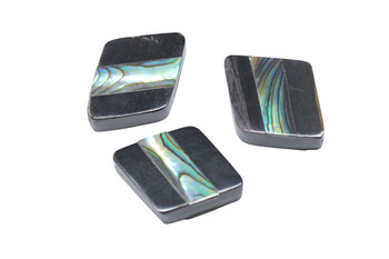 Buffalo Horn Abalone Inlay Polished 18x26mm Diamond