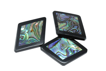 Buffalo Horn Abalone Inlay Polished 25x35mm Diamond