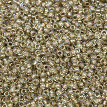 Size 15 Toho Seed Beads -- 378I Olivine AB / Antique Gold Lined