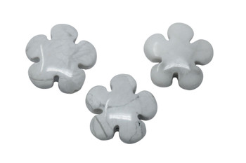 White Howlite Polished 20mm Flower