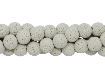 Bead World Exclusive Lava Rock Uncoated Cream 8-9mm Round
