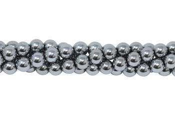 Rhodium Plated Hematite Polished 8mm Round