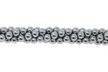 Rhodium Plated Hematite Polished 6mm Round