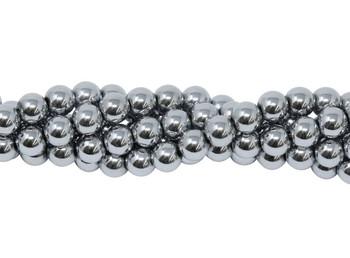 Rhodium Plated Hematite Polished 4mm Round