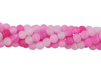 Cracked Agate Dyed Pink Matte 4mm Round