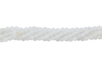 Cracked Agate Dyed White Matte 4mm Round