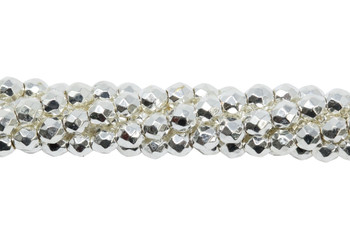 Sterling Silver Plated Hematite Polished 2mm Faceted Round