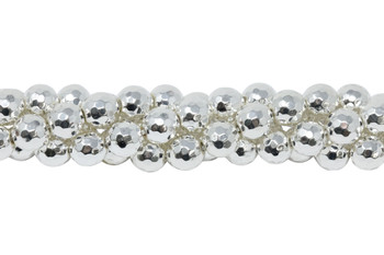 Sterling Silver Plated Hematite Polished 8mm Faceted Round