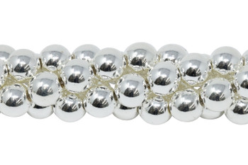 Sterling Silver Plated Hematite Polished 8mm Round