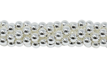 Sterling Silver Plated Hematite Polished 4mm Round