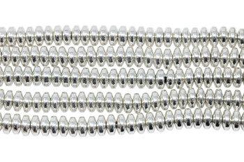 Sterling Silver Plated Hematite Polished 3x6mm Rondel