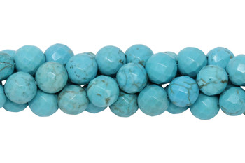 Howlite Turquoise Polished 8mm Faceted Round