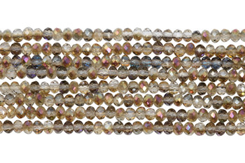 Chinese Crystal Polished 3mm Faceted Rondel - Crystal Iris
