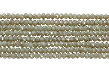 Chinese Crystal Polished 3mm Faceted Rondel - Light Khaki