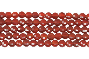Carnelian Polished 4mm Faceted Coin