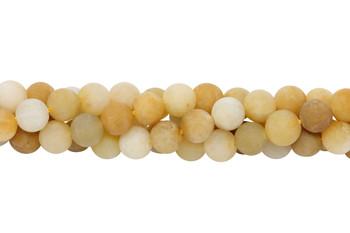 Natural Yellow Jade Matte 8mm Round