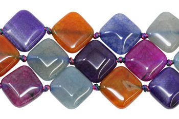 Cracked Agate Dyed Multi Color Polished 20x25mm Diamond