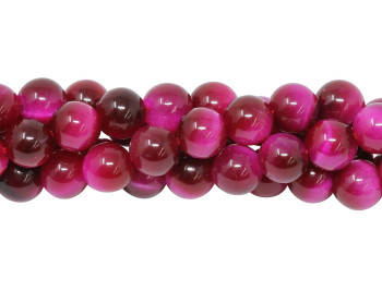 Tiger Eye Hot Pink Dyed Polished 6mm Round