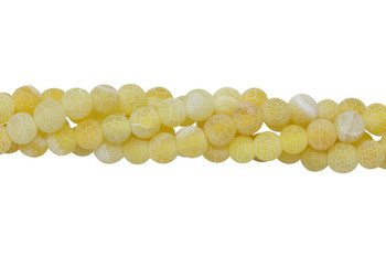 Cracked Agate Dyed Yellow Matte 6mm Round