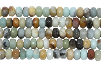 Amazonite Multi Color Polished 5x8mm Faceted Rondel