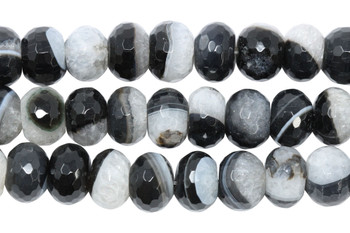 Black Agate with Quartz Polished 10x14mm Faceted Rondel