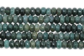 Moss Agate Polished 5x8mm Faceted Rondel