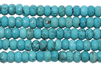 Howlite Turquoise Polished 6x10mm Faceted Rondel