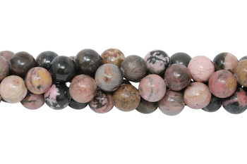 Black Veined Rhodonite Polished 10mm Round