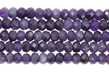Amethyst Polished 5x8mm Faceted Rondel