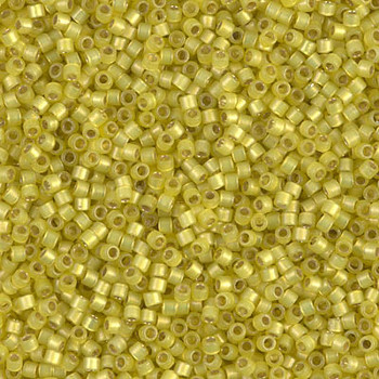 Delicas Size 11 Miyuki Seed Beads -- 2187 Duracoat Citron Semi Matte / Silver Lined