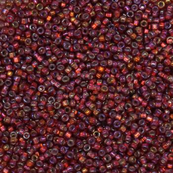 Size 15 Miyuki Seed Beads -- 638 Ruby AB / Silver Lined