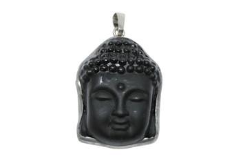 Obsidian Buddha Head Pendant