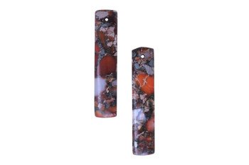 Orange Impression Jasper Polished 10x48mm Rectangle with Pyrite Inlay - Sold as Set