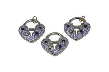Gold Micro Pave 17x18mm Heart Lock Charm